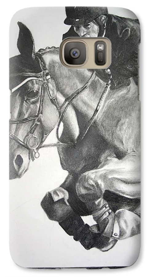 Horse Galaxy S7 Case featuring the drawing Horse And Jockey by Darcie Duranceau