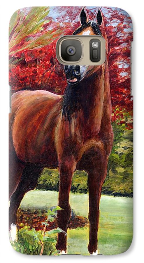 Horse Galaxy S7 Case featuring the painting Horse Portrait by Eileen Fong