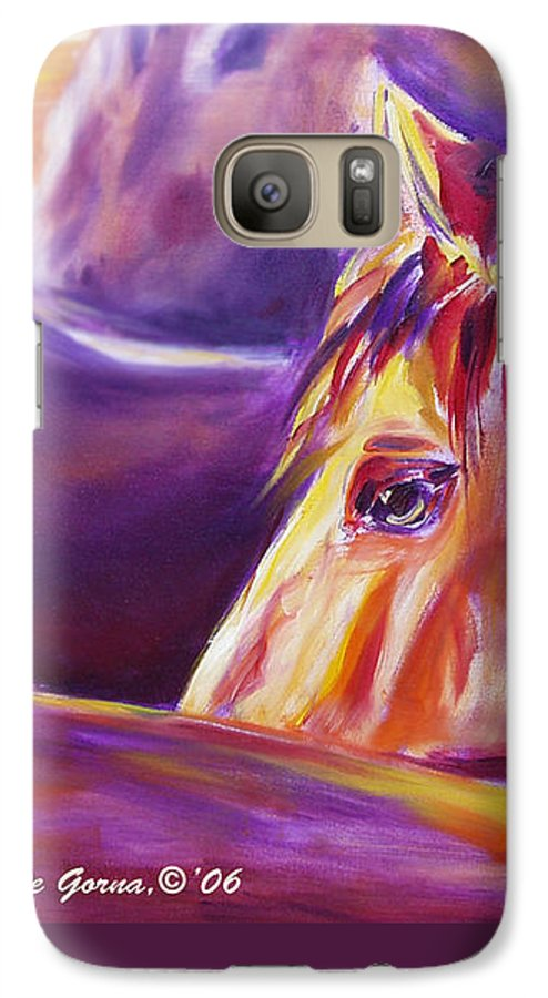 Horses Galaxy S7 Case featuring the painting Horse World Detail by Gina De Gorna