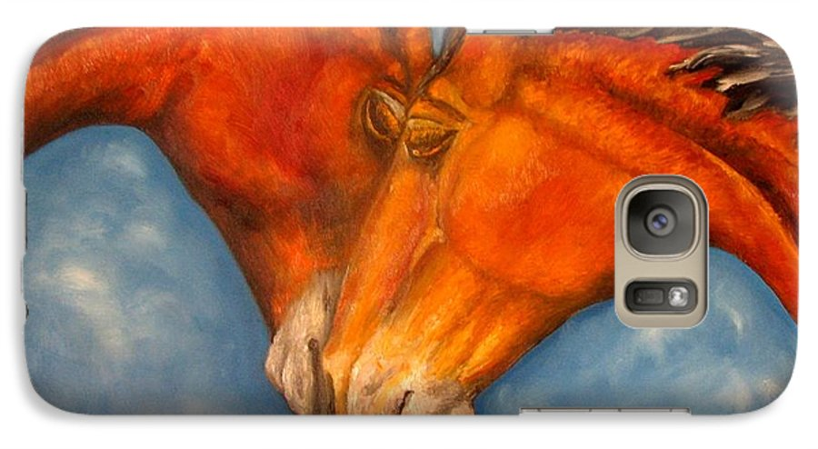 Horses Galaxy S7 Case featuring the painting Horses In Love.oil Painting by Natalja Picugina