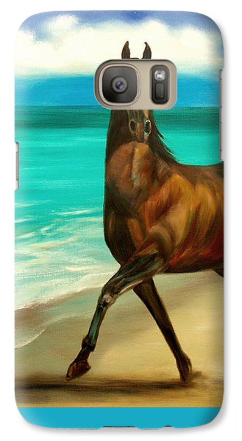 Horse Galaxy S7 Case featuring the painting Horses In Paradise Dance by Gina De Gorna