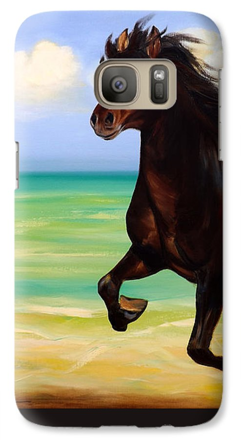 Horses Galaxy S7 Case featuring the painting Horses In Paradise Run by Gina De Gorna