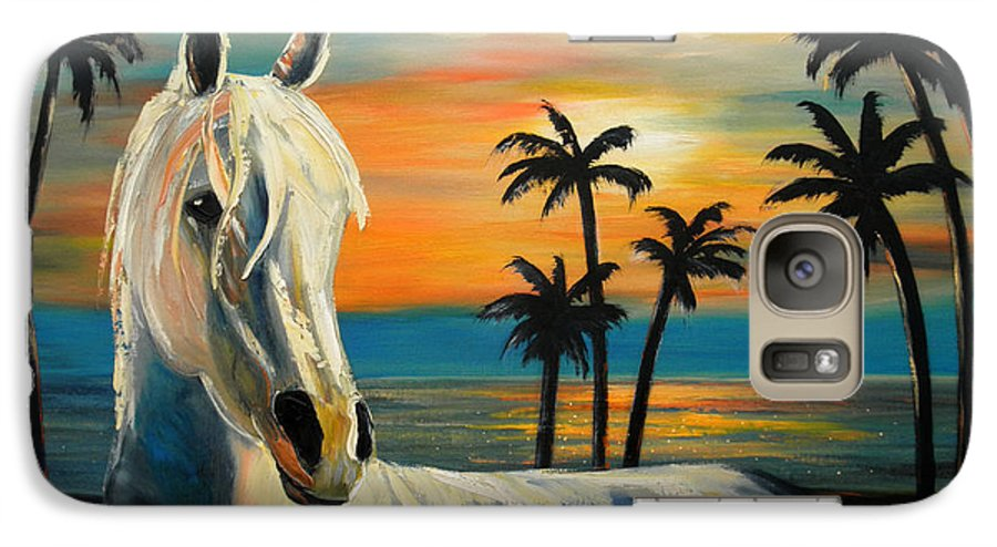 Horse Galaxy S7 Case featuring the painting Horses In Paradise Tell Me Your Dream by Gina De Gorna