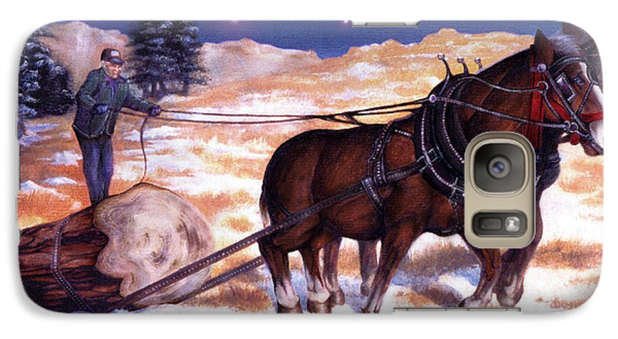 Horse Galaxy S7 Case featuring the painting Horses Pulling Log by Curtiss Shaffer