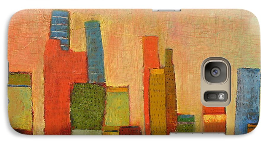 Abstract Cityscape Galaxy S7 Case featuring the painting Hot Manhattan by Habib Ayat
