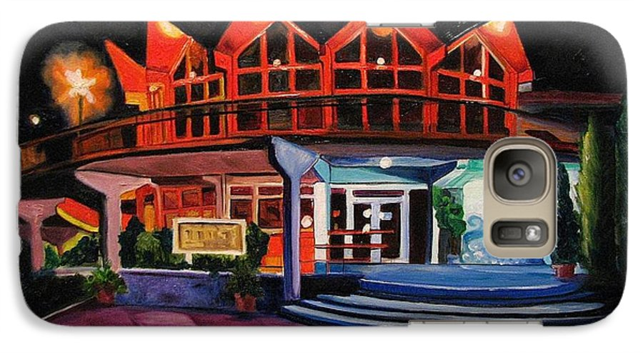 Asbury Art Galaxy S7 Case featuring the painting Howard Johnsons At Night by Patricia Arroyo
