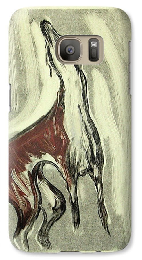 Monotype Galaxy S7 Case featuring the mixed media Howling For Joy by Cori Solomon