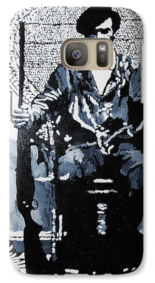 Black Panther Galaxy S7 Case featuring the painting Huey Newton Minister Of Defense Black Panther Party by Lauren Luna