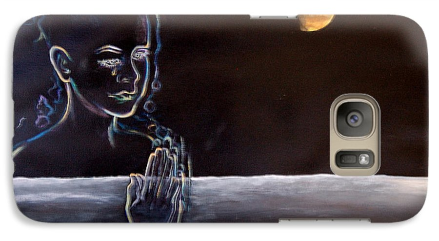 Moon Galaxy S7 Case featuring the painting Human Spirit Moonscape by Susan Moore