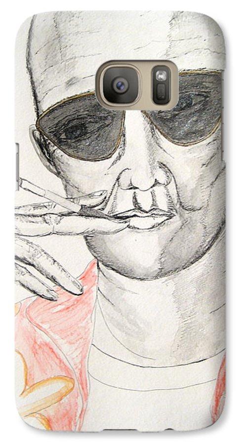 Hunter Thompson Gonzo Journalist Portrait Man Darkestartist Darkest Artist Galaxy S7 Case featuring the painting Hunter S. Thompson by Darkest Artist