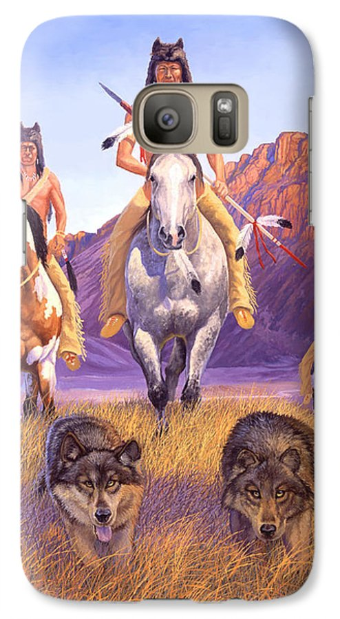 Indian Art Galaxy S7 Case featuring the painting Hunters Of The Full Moon by Howard Dubois