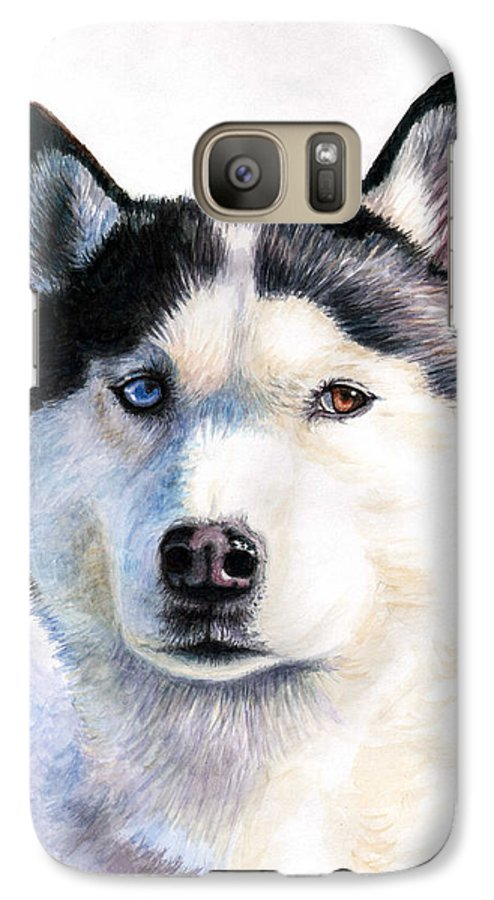 Dog Galaxy S7 Case featuring the painting Husky Blue by Nicole Zeug