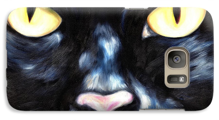 Black Cat Galaxy S7 Case featuring the painting I Am Night by Hiroko Sakai
