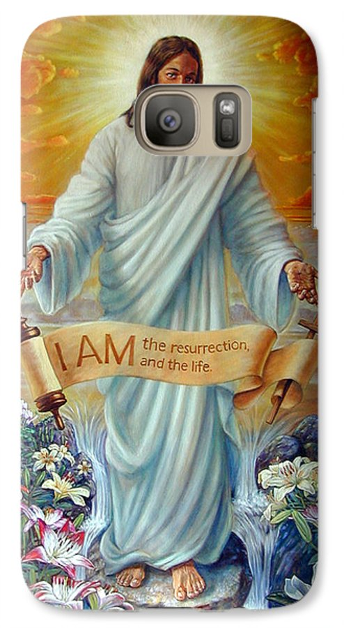 Jesus Christ Galaxy S7 Case featuring the painting I Am The Resurrection by John Lautermilch