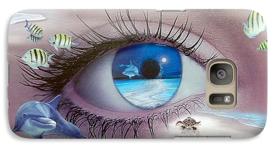 Dolphins Galaxy S7 Case featuring the photograph I Witness Testigo by Angel Ortiz