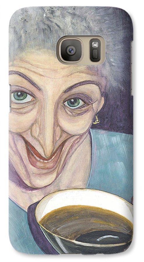 Portrait Galaxy S7 Case featuring the painting I Would Like To Try This One by Olga Alexeeva