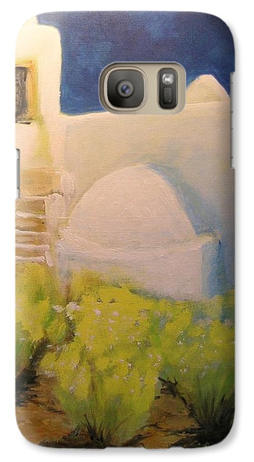 Landscape Galaxy S7 Case featuring the painting Ibicencan Country House by Lizzy Forrester