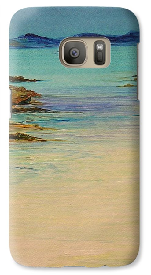 Seascape Original Painting Galaxy S7 Case featuring the painting Ibiza In The Distance.... by Lizzy Forrester