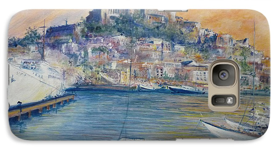 Marina Galaxy S7 Case featuring the painting Ibiza Old Town Marina And Port by Lizzy Forrester