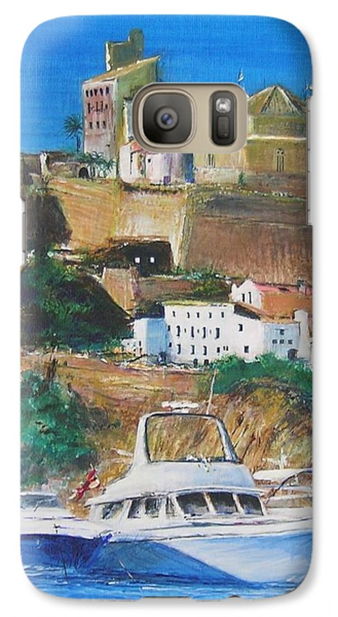 Original Landscape Painting Galaxy S7 Case featuring the painting Ibiza Town by Lizzy Forrester