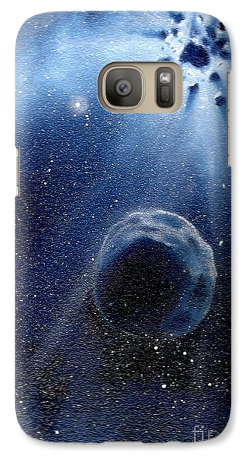 Outerspace Galaxy S7 Case featuring the painting Impressive Impact by Murphy Elliott
