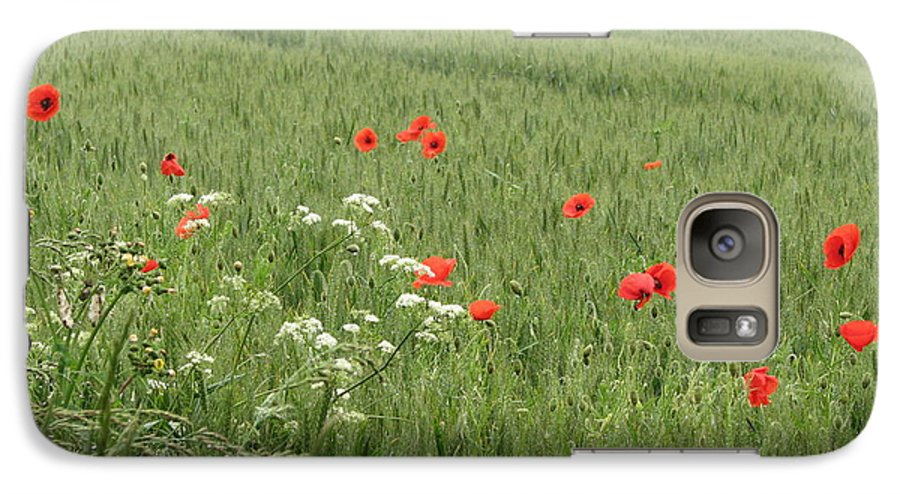 Lest-we Forget Galaxy S7 Case featuring the photograph in Flanders Fields the poppies blow by Mary Ellen Mueller Legault