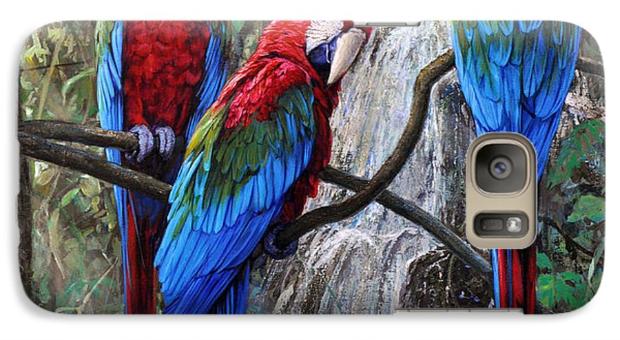 Macaws Galaxy S7 Case featuring the painting In Front Of The Cascade by Gabriel Hermida