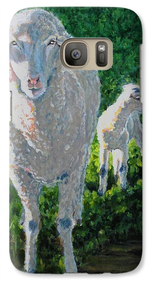 Sheep Galaxy S7 Case featuring the painting In Sheep's Clothing by Karen Ilari