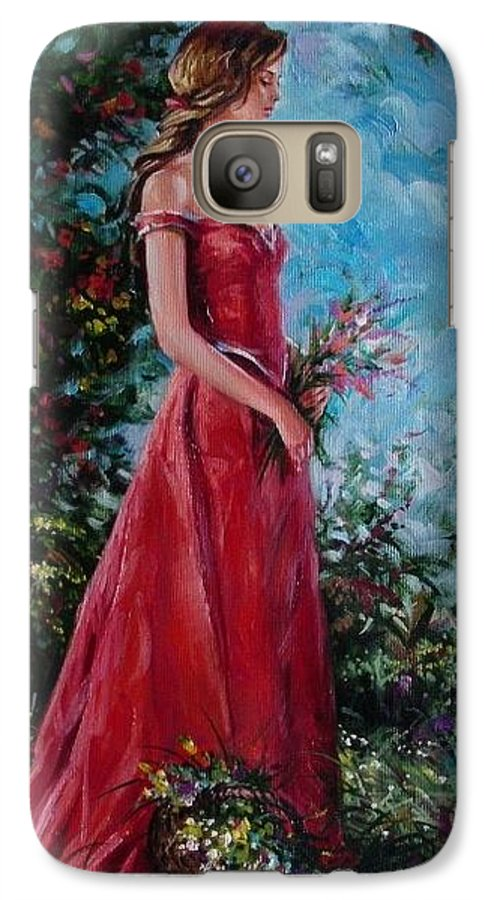 Figurative Galaxy S7 Case featuring the painting In Summer Garden by Sergey Ignatenko