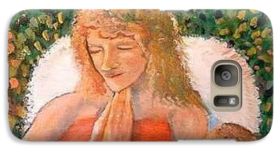 Angels Galaxy S7 Case featuring the painting In The Garden We Pray by J Bauer