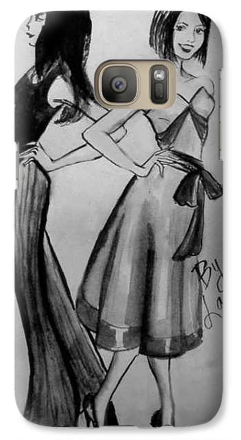 Fashion Galaxy S7 Case featuring the drawing Ink Ladies by Laura Rispoli