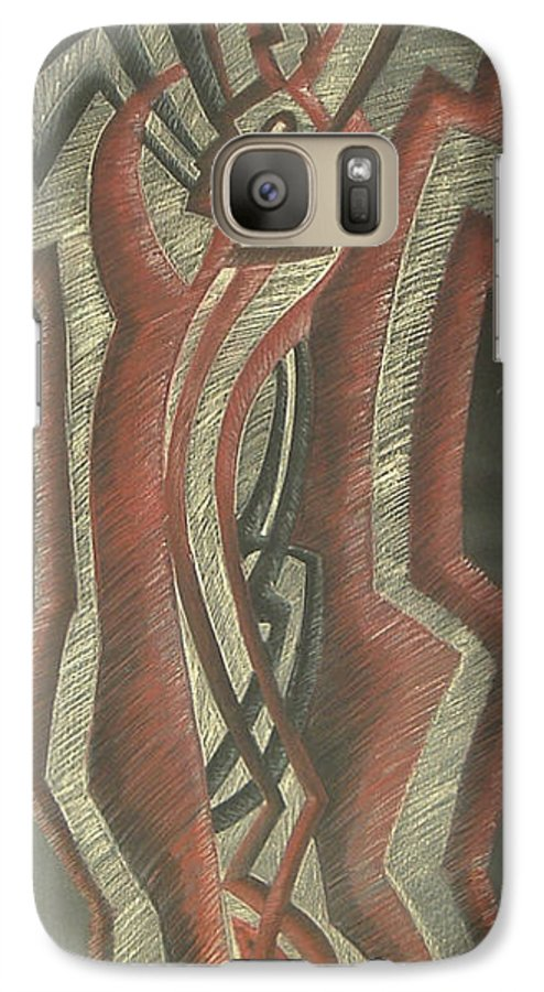 Donald+burroughs Galaxy S7 Case featuring the drawing Inner Turmoil Original by Donald Burroughs
