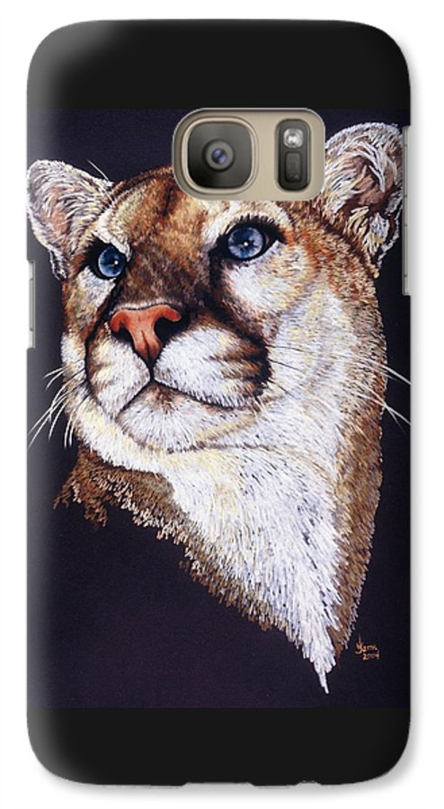 Cougar Galaxy S7 Case featuring the drawing Intense by Barbara Keith