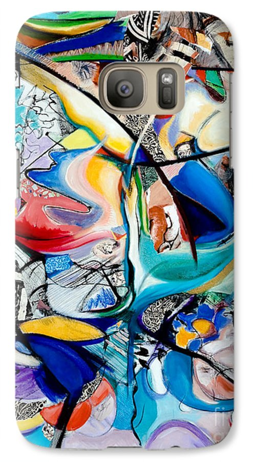 Abstract Galaxy S7 Case featuring the painting Intimate Glimpses - Journey Of Life by Kerryn Madsen-Pietsch