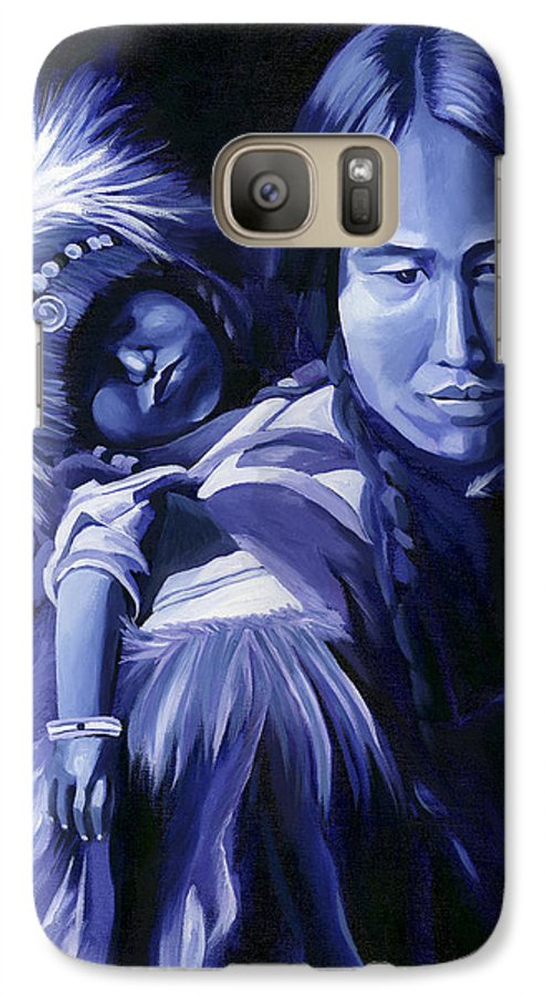 Native American Galaxy S7 Case featuring the painting Inuit Mother And Child by Nancy Griswold