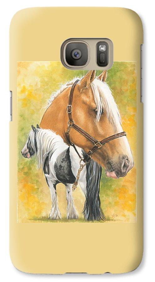 Draft Horse Galaxy S7 Case featuring the mixed media Irish Cob by Barbara Keith