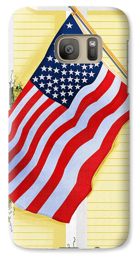 U.s. Flag Galaxy S7 Case featuring the painting It Will Fly Until They All Come Home by Anne Norskog