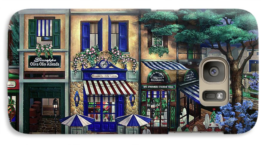 Italian Galaxy S7 Case featuring the mixed media Italian Cafe by Curtiss Shaffer