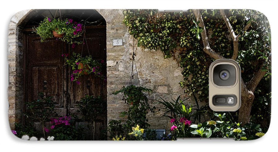 Flower Galaxy S7 Case featuring the photograph Italian Front Door Adorned With Flowers by Marilyn Hunt
