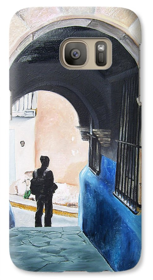 Archway Galaxy S7 Case featuring the painting Ivan In The Street by Laura Pierre-Louis