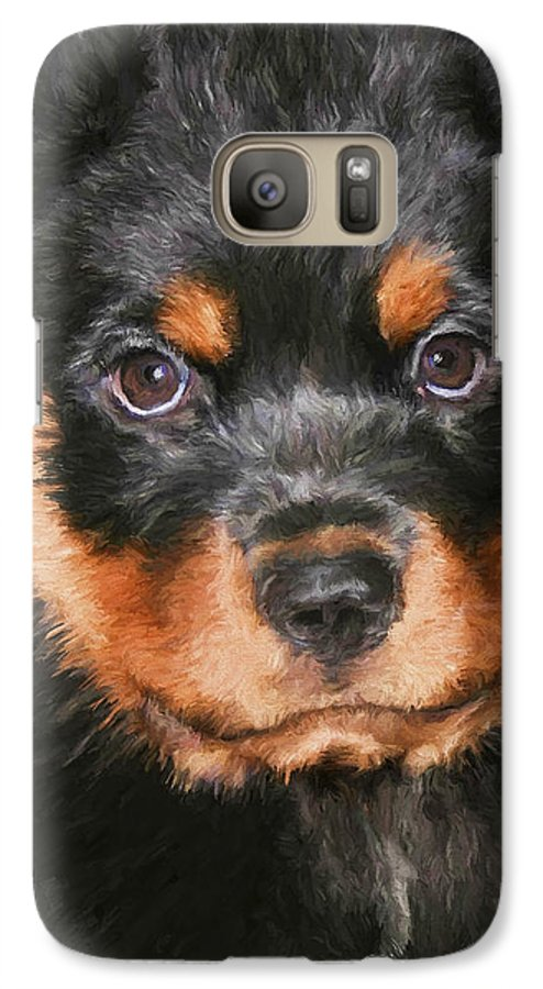 Rottweiler Galaxy S7 Case featuring the painting Jacob by David Wagner