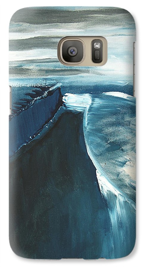 Abstract Acrylic Artist Blue Darkest Darkestartist January Painting Water Ice Galaxy S7 Case featuring the painting January by Darkest Artist