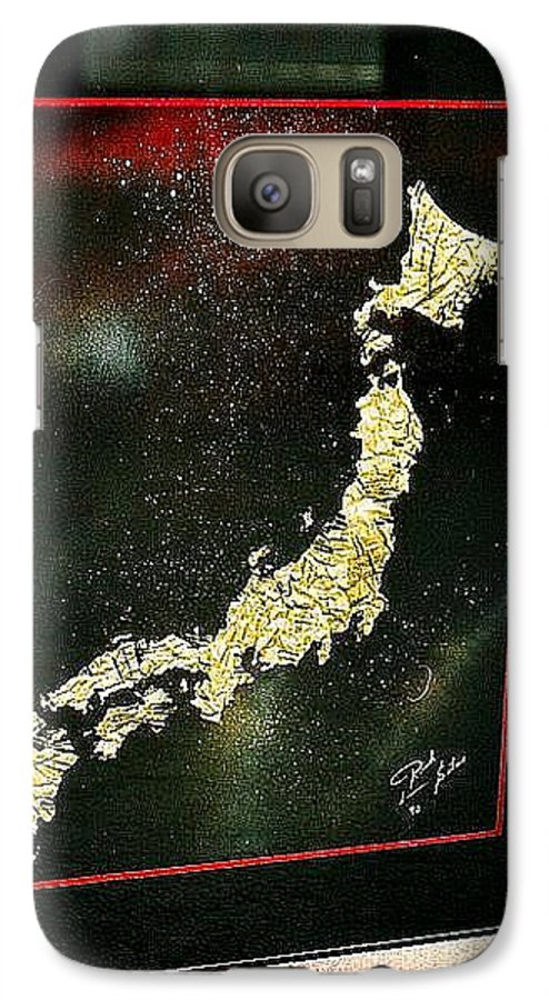 Map Galaxy S7 Case featuring the painting Japan by Rick Silas