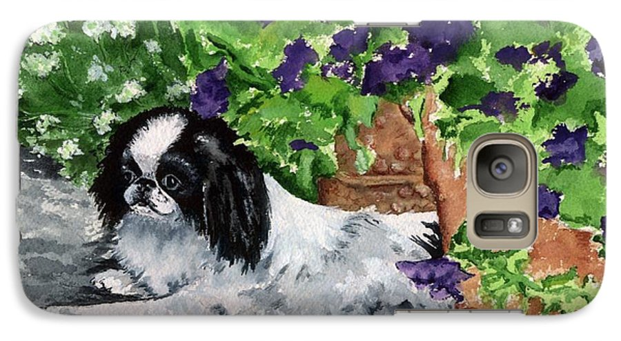 Japanese Chin Galaxy S7 Case featuring the painting Japanese Chin Puppy And Petunias by Kathleen Sepulveda
