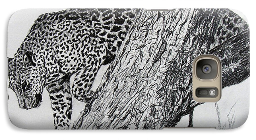 Original Drawing Galaxy S7 Case featuring the drawing Jaquar In Tree by Stan Hamilton
