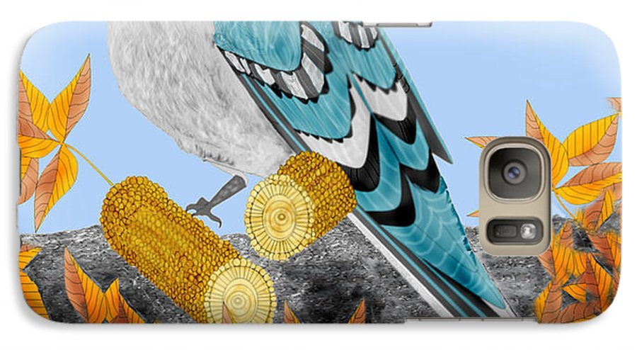 Jay Bird Galaxy S7 Case featuring the painting Jay With Corn And Leaves by Anne Norskog