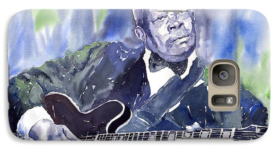 Jazz Bbking Music Watercolor Watercolour Guitarist Portret Galaxy S7 Case featuring the painting Jazz B B King 01 by Yuriy Shevchuk