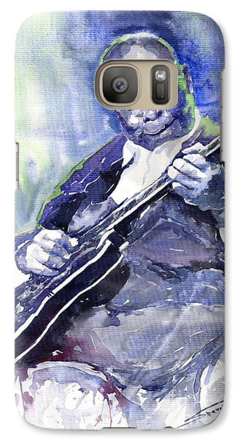 Jazz Galaxy S7 Case featuring the painting Jazz B B King 02 by Yuriy Shevchuk