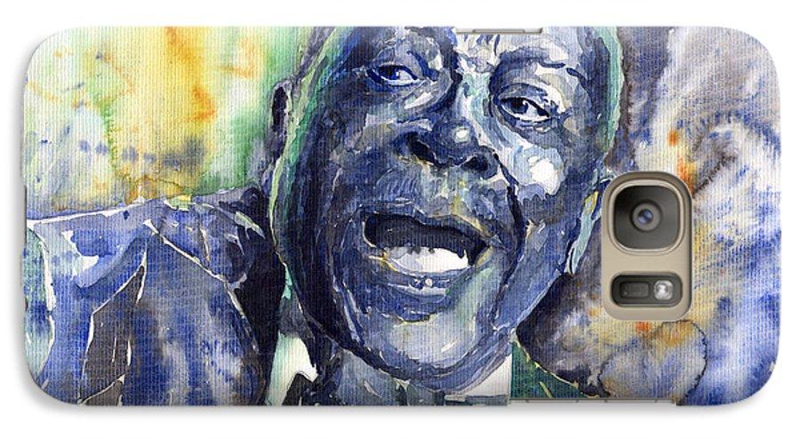 Jazz Galaxy S7 Case featuring the painting Jazz B.b.king 04 Blue by Yuriy Shevchuk