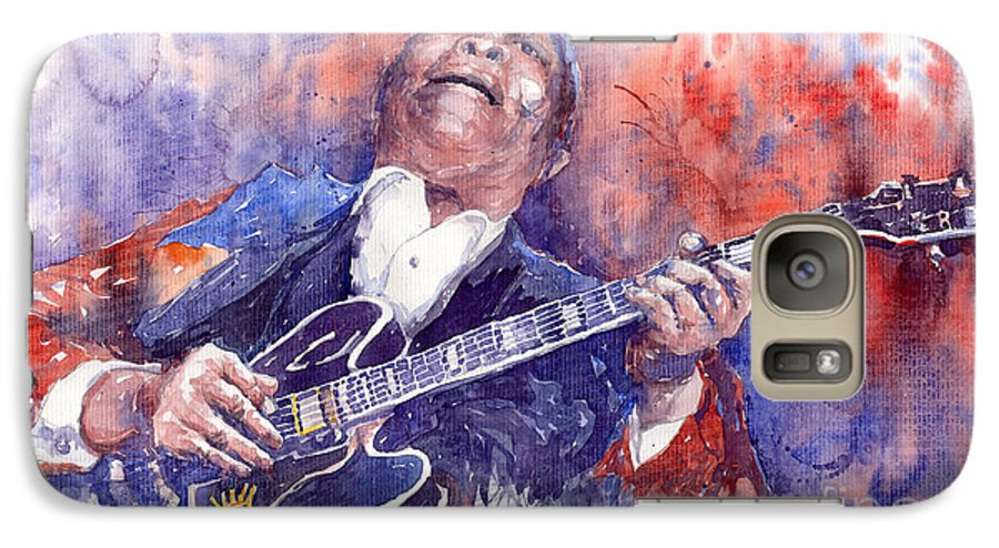 Jazz Galaxy S7 Case featuring the painting Jazz B B King 05 Red by Yuriy Shevchuk